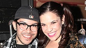 Project Runway's Mondo Guerra is all smiles with Lindsay Mendez, who wore his winning costume design in the show.