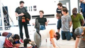 Peter and the Starcatcher Rehearsal  Christian Borle and the human stool