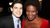 Jeremy Jordan hangs out with his onstage pal Capathia Jenkins after the show.