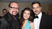 Desmond Child, former West Side Story star Josefina Scaglione and Ricky Martin have a Latin music moment at the party.