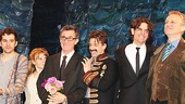 Adam Chanler-Berat, Celia Keenan-Bolger, co-director Roger Rees, Christian Borle, co-director Alex Timbers and playwright Rick Elice stand proud in front of a cheering crowd.