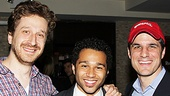 Godspell director Daniel Goldstein and producer Ken Davenport, flank a humbled Corbin Bleu at Tony's di Napoli Restaurant.