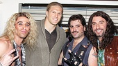 Rock of Ages funnymen Joey Calveri, Genson Blimline and Adam Dannheisser pal around with their celebrity guest.