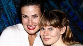 Tony winner Idina Menzel looks wicked psyched to pose with Starcatcher sweetie Celia Keenan-Bolger backstage at the Brooks Atkinson Theatre.