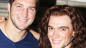 Superstar quarterback Tim Tebow is thrilled to hang out with Rock of Ages star Justin Matthew Sargent (Drew).