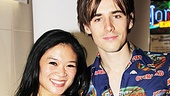 Reeve Carney celebrates at the Aspen Social Club with the help of Spider-Man ensemble member Kristen Faith Oei.