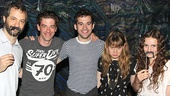 "Superstar film director Judd Apatow and daughter Maude show off their ""black staches"" while flanking Peter and the Starcatcher leads Christian Borle, Adam Chanler-Berat and Celia Keenan-Bolger."