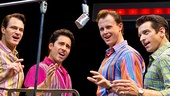 Matt Bogart as Nick Massi, John Lloyd Young as Frankie Valli, Quinn VanAntwerp as Bob Gaudio and Andy Karl as Tommy DeVito in Jersey Boys.