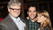 Starcatcher star Adam Chanler-Berat is flanked by adorable Broadway couple John Ellison Conlee and Celia Keenan-Bolger.