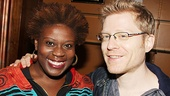 Newsies' Capathia Jenkins and Rent's Anthony Rapp take a break from meetings fans to pose for photo.
