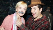 Argg! Cathy Rigby tries Matthew Saldivar's black 'stache on for size.