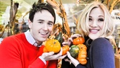 Garett and Steffanie look simply darling with an assortment of pumpkins. (Their favorite snacks, however, are guac and hummus.)