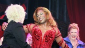 Kinky Boots composer Cyndi Lauper gives Billy Porter a big hug and congratulations.
