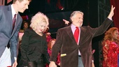 The audiences cheers for Kinky composer and lyricist Cyndi Lauper and writer Harvey Fierstein, as Stark Sands looks on.