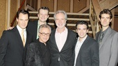 Frankie Valli and Bob Gaudio (c.) provided the inspiration for the Broadway hit Jersey Boys, starring (from left) Matt Bogart, Jeremy Kushnier, Jarrod Spector and Drew Gehling.