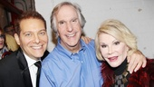 Michael Feinstein, Henry Winkler and Joan Rivers beam backstage at the Longacre Theatre.