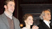 Bravo! The Heiress stars Dan Stevens, Jessica Chastain and David Strathairn take their official opening night bow.