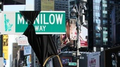 It's a sign! Todd Asher and Barry Manilow introduce Manilow Way, located on the corner of Seventh Avenue and 44th Street.