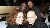 Jen Cody and Hunter Foster photobomb this adorable picture of Mary Testa and Michael Cerveris. Testa appeared with Moran in One Two Three Four Five off-Broadway and Cerveris and Moran shared the Broadway stage in Titanic.