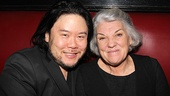Stafford Arima enjoys the after-party at Sardi's with Tyne Daly, who gave a stirring performance as Emma Goldman.