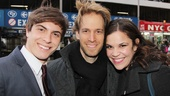Derek Klena beams beside Vanya set designer David Korins, who also designed the recent revival of Godspell, starring Klenas Dogfight co-star Lindsay Mendez. Got all that?
