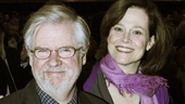And there they are! Christopher Durang happily receives the lovely bouquet from his longtime pal Sigourney Weaver.