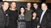 The original Avenue Q gang, John Tartaglia, Carmen Ruby Floyd, Stephanie DAbruzzo, musical director Gary Adler, Ann Harada, Rick Lyon and Jordan Gelber, reunite for a performance in honor of their 10th anniversary. 