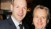 Corey Stoll, who recently made a splash in House of Cards, chats up Linus Roache, who recently appeared in the Vineyards production of Middletown.