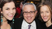 Wicked producer David Stone is surrounded by two gorgeous ladies on the red carpet: Lindsay Mendez and Tony winner Alice Ripley.