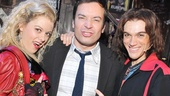 Rock of Ages headliners Kate Rockwell and Justin Matthew Sargent get close to Jimmy Fallon and his best rocker snarl.