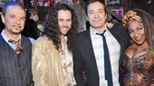 Jimmy Fallon is all smiles backstage with Rock of Ages stars Paul Schoeffler (Hertz), Tony LePage (on for Adam Dannheisser as Dennis) and Teresa Stanley (Justice).