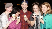Marla Mindelle, Ann Harada, Santino Fontana, Laura Osnes and Victoria Clark send a big thank you to Magnolia Bakery for the lovely cupcakes.