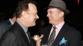 Tom Hanks shares a laugh at the after party with Christopher McDonald, who plays McAlary's lawyer Eddie Hayes.