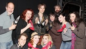 The cast of Kinky Boots welcomes Spider-Man's Reeve Carney (and Arachne's shoes) backstage in style. Back row from left: Marcus Neville, Adinah Alexander, Reeve Carney, Ellyn Marie Marsh, Celina Carvajal, Caroline Bowman. Front row: Andy Kelso, Tory Ross and Annaleigh Ashford.
