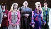 The Matilda grown-ups Taylor Trensch, Lauren Ward, Bertie Carvel, Lesli Margherita and Gabriel Ebert enjoy the applause.