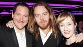 Stars Bertie Carvel and Lauren Ward surround composer Tim Minchin at the opening night party.