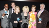The Kinky Boots crew celebrate their award for Favorite Musical. From left: Billy Porter, Stark Sands, producer Daryl Roth, Cyndi Lauper, Annaleigh Ashford and Harvey Fierstein.