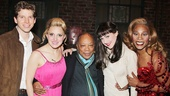 The following day, music legend Quincy Jones receives group hug from Kinky quartet Stark Sands, Annaleigh Ashford, Celina Carvajal and Billy Porter.