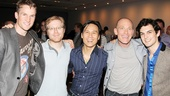 The major talents featured in The Night Larry Kramer Kissed Me come together for a post-show pic. From left: Claybourne Elder, Anthony Rapp, B.D. Wong, David Drake and Wesley Taylor.
