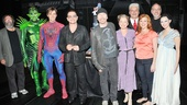 A parting shot of Michael Cohl, Robert Cuccioli, Reeve Carney, Bono, The Edge, Isabel Keating, Michael Mulheren, Rebecca Faulkenberry, Phillip William McKinley and Christina DeCicco, celebrating their show's 1,000th performance. Cheers, superheroes!