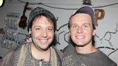 Aye Aye! Jonathan Groff congratulates Steve Rosen after his first performance as Smee.