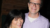 Ann Harada flashes a winning smile with Vineyard Theatre artistic director Douglas Abel, who helped shepherd Avenue Q.