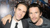 Alessandro Nivola is congratulated by his pal Ethan Hawke, headed to Broadway on October 24 in Macbeth.