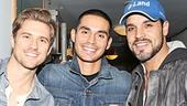 The Graceland gang is all here: Vanessa Ferlito, Aaron Tveit and Manny Montana congratulate co-star Daniel Sunjata on bloody great job in Macbeth.