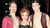 Annie Potts comes in close for a photo with Pippin circus studs Preston Jamieson and Orion Griffiths.