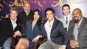 Aladdin stars Jonathan Freeman, director and choreographer Casey Nicholaw, Courtney Reed, Adam Jacobs, lyricist Chad Beguelin and James Monroe Iglehart relax at the event.