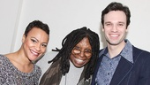 Beautiful co-stars Carly Hughes & Jake Epstein relax after the show with Whoopi Goldberg.