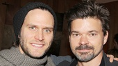 Bridges dudes Steven Pasquale and Hunter Foster kick back after a take.