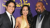 After the show, Adam Jacobs (Aladdin), Courtney Reed (Jasmine) and James Monroe Iglehart (Genie) strike a pose on the red carpet.