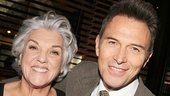 Tyne Daly is proud to have her brother, actor Tim Daly, by her side on opening night.